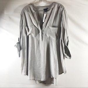 Torrid Challis Gray Pocket Pullover Blouse 1X